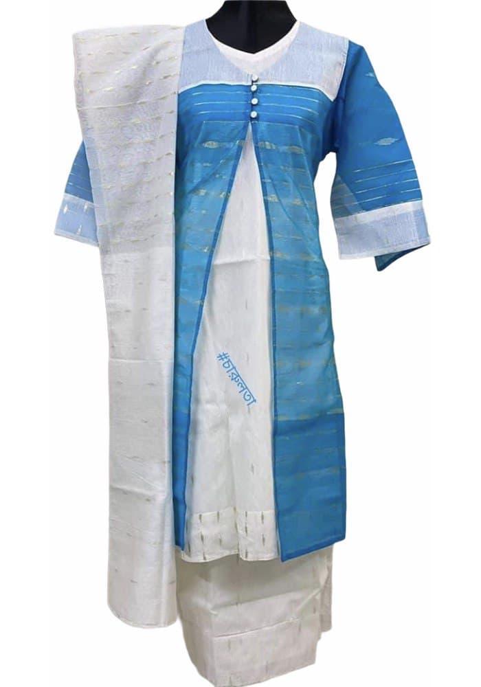 Jamdani 4pc: Firoza on White