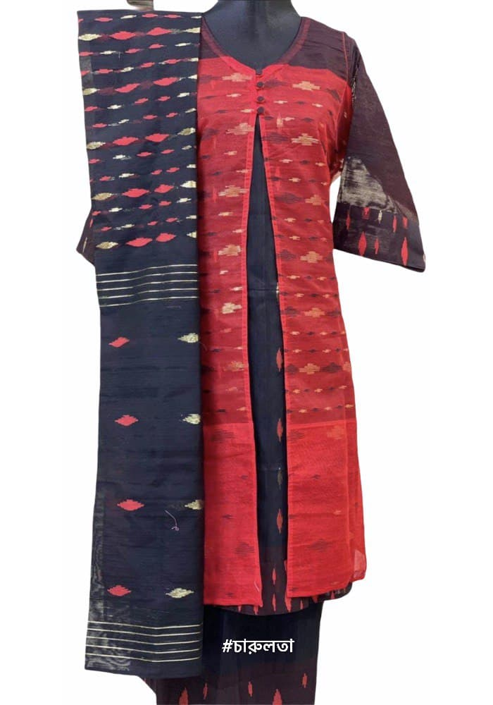 Jamdani 4pc: Red on Black